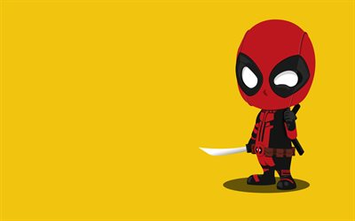 Deadpool, superheros, minimal, yellow background
