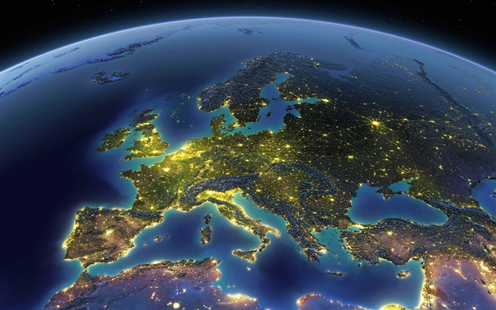 Download wallpapers Europe from space, night, Earth, lights