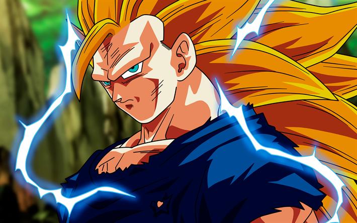 Download wallpapers 4k, Goku, lightnings, Dragon Ball ...