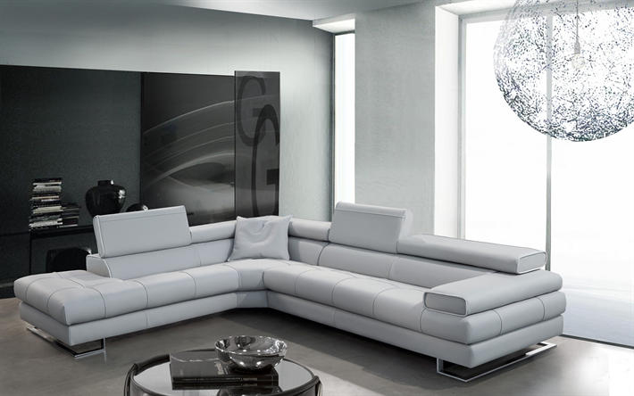 4k Living Room White Modern Apartment Sofa Design