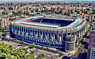 4k, Santiago Bernabeu, vue aérienne, le Real Madrid Stadium, football, HDR, stade de football, le Real Madrid arena, l'Espagne, le Real Madrid CF