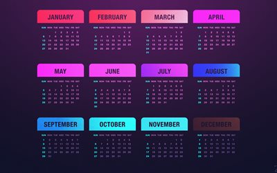 Calendar for 2019, purple background, 2019 calendar with all months, art, 2019 violet calendar