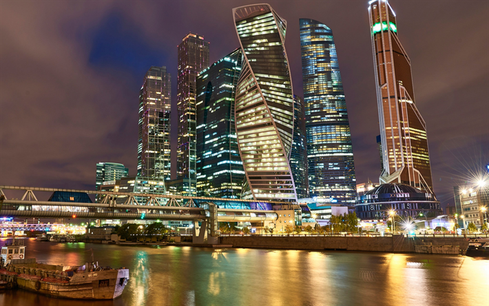 Download Wallpapers Moscow Night City Skyscrapers Modern