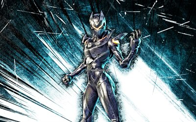 4k, Galaxy Skin, grunge art, 2020 games, Fortnite Battle Royale, blue abstract rays, Fortnite characters, Galaxy, Fortnite, Galaxy Fortnite