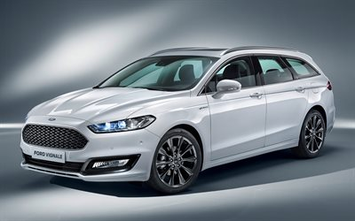 Ford Mondeo, 2021, Ford Vignale, exterior, Mondeo station wagon, front view, new white Mondeo, american cars, Ford