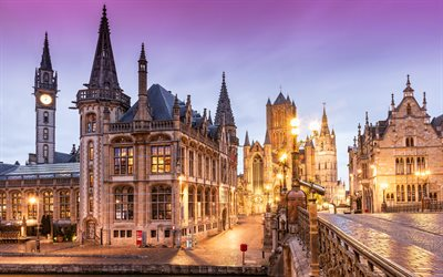 4k, Ghent, morning, summer, cathedral, cityscapes, belgian cities, Europe, Belgium
