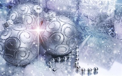4k, silver christmas balls, glare, bokeh, silver tinsel, christmas lanterns, Happy New Year, christmas decorations, xmas balls, silver christmas backgrounds, new year concepts, Merry Christmas