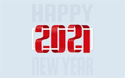 Happy New Year 2021, 4k, gray background, red ribbon letters, 2021 New Year, 2021 creative art