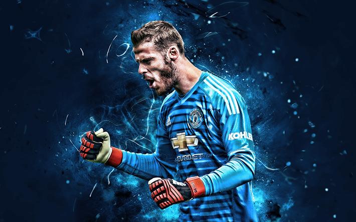 Download Wallpapers David De Gea, Blue Uniform, Goalkeeper