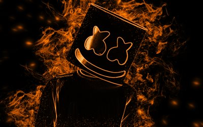 Marshmello, 4k, American DJ, orange smoke, black background, silhouette out of smoke, silhouette Marshmello, hat, creative art, Christopher Comstock