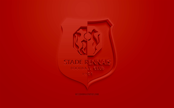 Download wallpapers stade rennais fc creative 3d logo red background 3d emblem french - Stade rennais logo ...