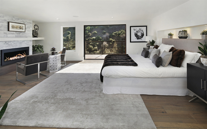 stylish bedroom interior, modern interior design, white bedroom, white bed, fireplace in the bedroom