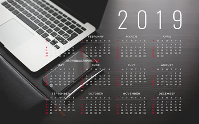 Business Calendar 2019, 4k, gray background, 2019 Yearly Calendar, notebook, smartphone, Gray Calendar 2019, Calendar 2019, Year 2019 Calendar, 2019 calendars, 2019 calendar