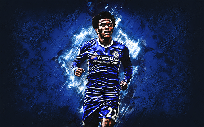 Download Wallpapers Willian, Chelsea FC, Midfielder, Joy