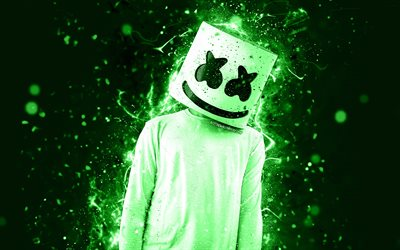 DJ Marshmello, green neon, 4k, Christopher Comstock, fan art, creative, american DJ, Marshmello 4k, Marshmello DJ, superstars, Marshmello, DJs