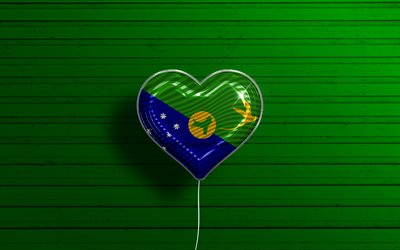 I Love Christmas Island, 4k, realistic balloons, green wooden background, Asian countries, Christmas Island flag heart, favorite countries, flag of Christmas Island, balloon with flag, Christmas Island flag, Love Christmas Island