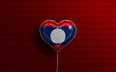 I Love Laos, 4k, realistic balloons, red wooden background, Asian countries, Laotian flag heart, favorite countries, flag of Laos, balloon with flag, Laotian flag, Laos, Love Laos