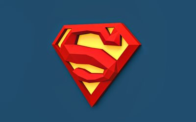 Superman 3D logo, 4K, minimal, Superman logo, superheroes, blue backgrounds, creative, Superman