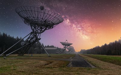 Westerbork Synthesis Radio Telescope, WSRT, observatory, evening, sunset, radio telescopes, Hooghalen, Midden-Drenthe, Drenthe, Netherlands