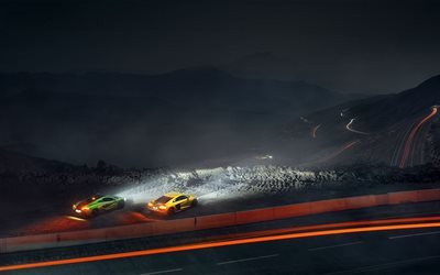 Audi R8, McLaren P1, night, serpentine, mountains