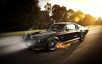 Ford Mustang GT500 Eleanor, road, movement, retro cars, fire, Ford