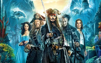 Pirates of the Caribbean, Dead Men Tell No Tales, 2017, poster, 4k, Johnny Depp, Orlando Bloom, Javier Bardem, Kaya Scodelario, Jeffrey Rush