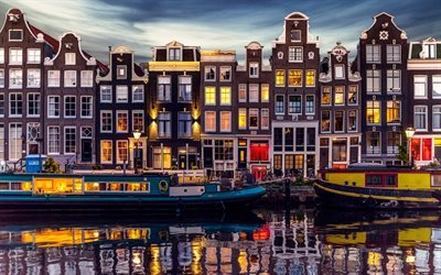 Amsterdam, canal, evening city, houses, embankment, Netherlands