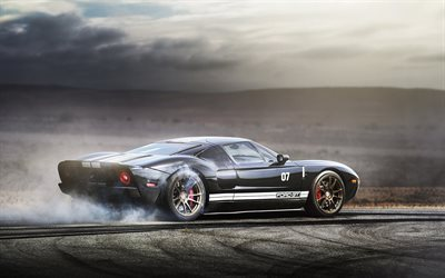 ford gt, drift, rauch, supersportwagen, ford