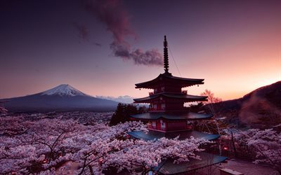 Sunset, Japan, Fuji, mountain, spring, sakura, Churei Tower, stratovolcano, Honshu Island