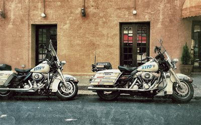 Harley-Davidson, police motorcycles, street