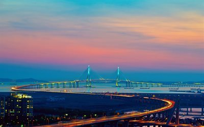 Incheon, sunset, Incheon bridge, skyline, Korea