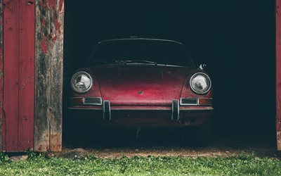 Porsche 911S, garage, supercars, abandoned car, Porsche