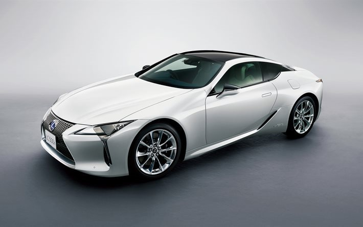 Download wallpapers Lexus LC 500h, 2017, White sports car, white Lexus, new cars, luxury cars
