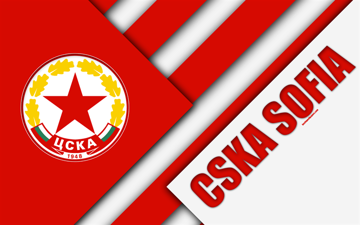 Download wallpapers FC CSKA Sofia, 4k, material design, logo, Bulgarian  football club, red white abstraction, emblem, Parva Liga, Sofia, Bulgaria,  football for desktop free. Pictures for desktop free