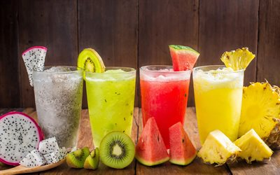 fruit cocktails, exotic drinks, pineapple, watermelon, kiwi, Pitaya, cocktails