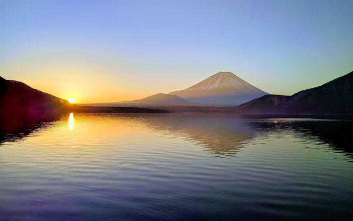 4k Mount Fuji Sunset Japanese Landmarks Mountains Japan Asia