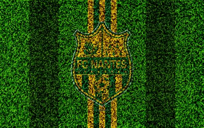 FC Nantes, 4k, football lawn, logo, French football club, grass texture, emblem, yellow green lines, Ligue 1, Montpellier, Nantes, football