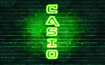 4K, Casio green logo, vertical text, green brickwall, Casio neon logo, creative, Casio logo, artwork, Casio