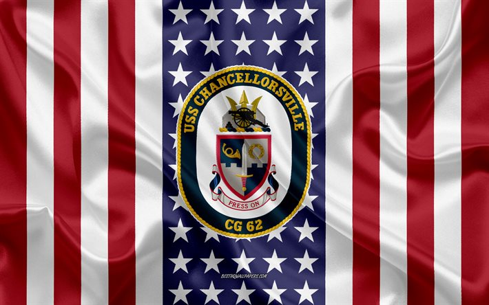 USS Chancellorsville Emblem, CG-62, American Flag, US Navy, USA, USS Chancellorsville Badge, US warship, Emblem of the USS Chancellorsville
