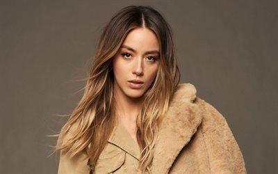Chloe Bennet, american actress, portrait, photoshoot, american fashion model, brown cloak
