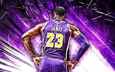 LeBron James, 4k, back view, grunge art, Los Angeles Lakers, NBA, violet uniform, basketball stars, LeBron Raymone James Sr, violet abstract rays, LeBron James 4K, basketball, LA Lakers, creative, LeBron James Lakers