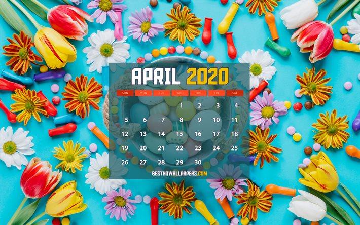 Download Wallpapers April 2020 Calendar 4k Easter Frame 2020