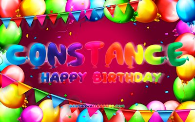 Happy Birthday Constance, 4k, colorful balloon frame, Constance name, purple background, Constance Happy Birthday, Constance Birthday, popular french female names, Birthday concept, Constance