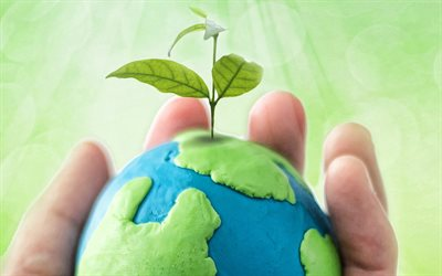 Take care of the planet, Save Earth, plasticine Earth, plasticine globe, Earth in the hands, ecology concepts, Environment, Earth