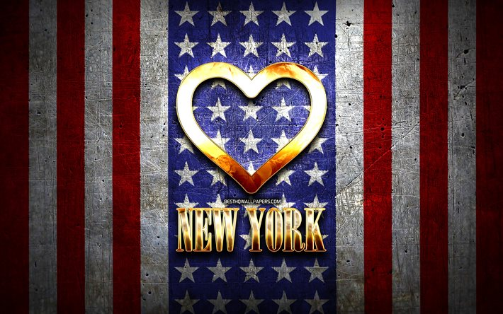 I Love New York, american cities, golden inscription, USA, golden heart, american flag, New York, favorite cities, Love New York, I Love NYC