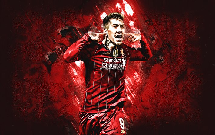 Roberto Firmino, portrait, Liverpool FC, Brazilian soccer player, red creative background, midfielder, Premier League, England, football