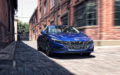 2021, Hyundai Elantra, front view, exterior, blue sedan, new blue Elantra, Korean cars, Hyundai