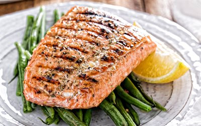 fried salmon, fish dishes, salmon, fried fish, salmon with asparagus