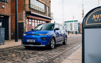 Kia Soul EV, 4k, street, 2020 cars, UK-spec Kia SK3, electric cars, 2020 Kia Soul, korean cars, Kia