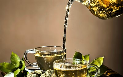 green tea, cups, teapot, Thailand, tea concepts, herbal tea